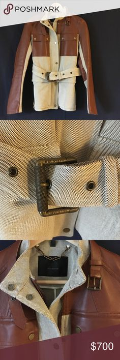 HP🎉⚡️Belstaff Kensington Jacket! ⚡️sale⚡️Host Pick! 10/12/16 Stunning, made in Italy, Belstaff jacket. High quality cotton canvas, super soft congnac leather, aged brass accents.  One of my favorite brands: their quality is truly exceptional.  Worn 3x. Small scratch on left breast pocket. See additional photos. Belstaff Jackets & Coats Utility Jackets