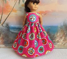 American Girl Doll Clothes Dress Bright Pink by sewgrandmacathy
