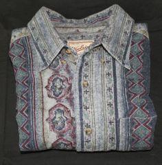 Woolrich Long Sleeve Shirt Size XL Blue Southwestern Design Heavy Cotton #Woolrich #ButtonFront