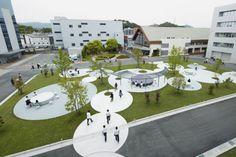 Landscape Architecture Perspective, Landscape Architecture Section, Interactive Architecture, Park Landscape, Garden Architecture, Landscape Design, Pavement Design, Urban Design Plan, Public Space Design