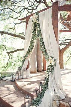 fabric, silver dollar eucalyptus, floral, floor lanterns