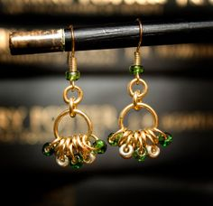 Hogwarts Collection - Slytherin - Brass Bead Hoop Earrings  by HowlOwl on Etsy. Harry Potter