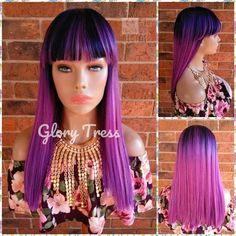 READY To SHIP // Straight  Full Wig, China Bang Wig, Ombre Purple & Pink, Unicorn Haircolor, Fringe Bangs// MODEL Mermaid Wig, Purple Pink Color, Flat Iron Curls, Fringe Bangs, Straight Lace Front Wigs, Wig Cap, Textured Hair, Medium Hair Styles, Straight Hairstyles