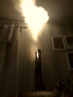 homemade lamp, spitting flames.