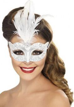 Venitiaans zilverkleurig masker met witte veren voor volwassenen