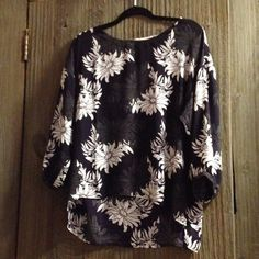 Loft Floral Blouse Gorgeous purple, grey, white and black. 3/4 sleeves. Hi/Low blouse. Runs big. Tops Blouses