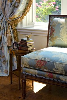 Luxurious French Country Home by Cabell Design Studio. Gorgeous chair and upholstery! Beautiful drapes, too. French Country Bedrooms, French Country House, Design Studio, House Design, Living Colors, Hickory Chair, Interior Decorating, Interior Design, Home Decor