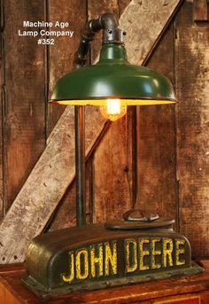 Floor Steampunk Industrial Lamp, Antique John Deere Farm Tractor B - #390