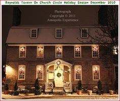 Three pictures of historic buildings around Church Circle in Annapolis Maryland during the Christmas 2010 holiday season with snow on the ground. Photographs taken in December 2010. To see a full size version of these photographs, as well as the accompanying Annapolis Experience Blog article, please click through on the Pinterest images for them. Copyright © 2012 Annapolis Experience