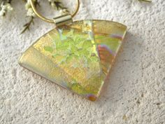 Amber Dichroic Necklace Dichroic Jewelry Gold by ccvalenzo on Etsy