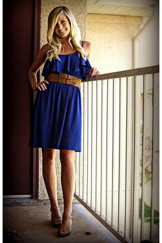 Blue dress with belt. Love the colors.