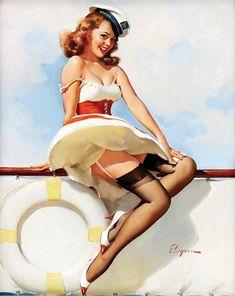 Pin Up Girl Vintage, Vintage Pins, Pin Up Photos, Girl Photos, Gil Elvgren, Vintage Art Prints, Vintage Circus, Pin Up Art, Retro