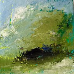 """""""A Thrilling Release of Earth and Air,"""" 8x8 inches, plaster, oil, and cold wax, by Dayna J. Collins."""