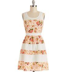 ModCloth Mid-length Sleeveless A-line Stripes and Roses Dress ($26) ❤ liked on Polyvore featuring dresses, modcloth, vestidos, apparel, fashion dress, multi, white dress, floral sundress, floral dresses and white a line dress