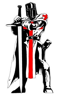 Framed Print - Knights Templar Standing With Sword & Shield (Picture Poster Art)