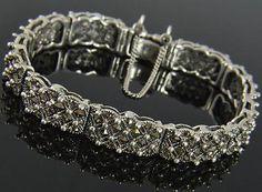 New Sterling Silver Art Deco Princess & Round Marcasite Panel Link Bracelet NWOT
