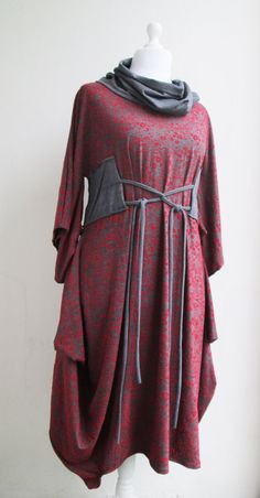 HANAKO Dress Artistic Quirky Original Avant Garde Kimono Japanese Style Adjustable - Plus Size Maternity - Red & Gray Flocked Cotton Jersey