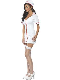 Fever Sexy Nurse Costume, With Short Dress with zip and Hat. This is a very sexy nurse's outfit for fancy dress parties that will get hearts racing!