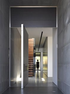 Architecture, Wooden Staircase Steel Railing Grey Wall Marble Floor Glass Partition Security Door Locks: Gorgeous Herzelia Pituah House: Inspiring Contemporary Home in Israel Entrance Design, Door Design, Exterior Design, Interior And Exterior, House Design, Corridor Design, Exterior Doors, Design Art, House Architecture