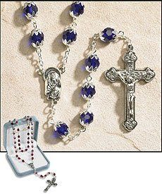 September (Sapphire) Double Capped Birthstone Rosary, 6 X 8 Mm Double Capped Crystal Bead -- 25 L, 1.75 Crucifix 25 L, 1.75 Crucifix .. #LG #Home