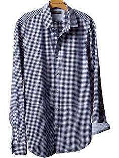 Tailored slim fit navy gingham shirt | Banana Republic