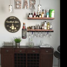 home bar - Home Bar Rooms, Diy Home Bar, Home Bar Decor, Mini Bar At Home, Small Bars For Home, In Home Bar Ideas, Bar Sets For Home, Wood Wine Racks, Wine Rack Wall