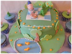 Y qué tal esta preciosura, George Pig con el dinosaurio en un día de campo celebrando el cumpleaños. Lindos no?