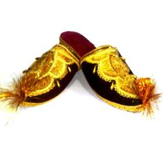 Flat slipper Craft of Uzbekistan Slippers handmade craft. Eastern women's shoes to wear at home. Base material - suede. It is made by embroidery of a cotton and silk thread. Sole - soft rubber. Threads - golden thread of silk and cotton. In slipper applied beads.