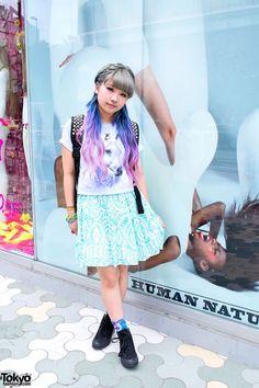 "tokyo-fashion: "" Aspiring Japanese high school singer You w/ pink-purple-blue hair on the street in Harajuku."
