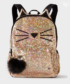 Sırt Çantası Modelleri Gold Kedi Bıyıklı Pul Payetli