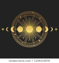 Abstract composition with sun, moon, orbits and stars on black background. Vector illustration Abstract composition with sun, moon, orbits and stars on black background. Poster Design, Graphic Design, Vector Design, Design Design, Moon Orbit, Sun Moon Stars, Sun And Stars, Masonic Symbols, Fractal