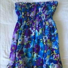 Floral dress 100% Polyester floral tube top dress Dresses Strapless