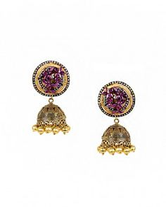 Jhumka Earrings with Purple Floral Top by Anjali Jain - #Gold #Earrings #Multicolour #Ethnic #Bling #India #Fashion #Jewelry #Indian #Designer #Jewellery #Multicolor #Desi #Stones #Kundan #Beads #Jhumka #Pearl #Traditional #Golden #Floral #Bangles #Necklaces Indian Ethnic Fashion - Jewelry Designs of India - Jewellery for Festive Dressing - Jewelry Styles for Indian Weddings - Bridal Jewellery