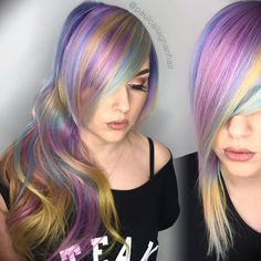 Rainbow hair color and beautiful messy braid by Paul Callaghan Pastel hair color www.hotonbeauty.com