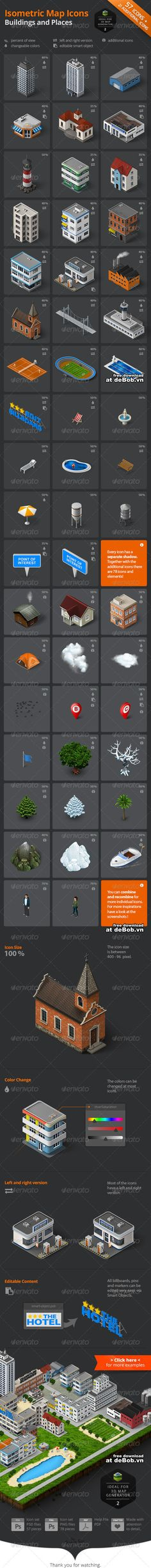 Isometric map icons buildings and places 8081725
