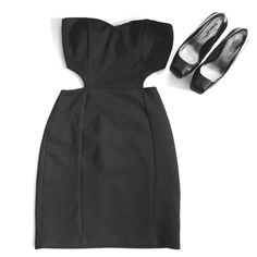"""LBPD """"little black party dress"""" Little black party strapless dress, with side and back cutouts. Cute for a night out on the town and to show off toned sides and back. Add statement pieces to make it your own  Mystic Dresses Mini"""