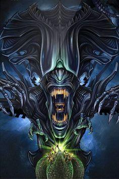 Xenomorph Queen #Alien #Aliens #Xenomorph #AlienQueen #XenomorphQueen #AvP #AlienVsPredator #AliensVsPredator Alien Vs Predator, Predator Movie, Predator Alien, Arte Alien, Alien Art, Alien Creatures, Fantasy Creatures, Alien Film, Giger Alien