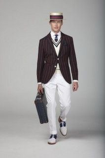 Boater Hat, Striped Blazer, White Chinos with Crockett & Jones Shoes