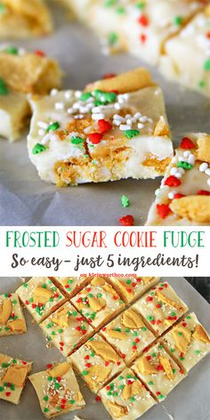 Frosted Sugar Cookie Fudge - simple 3 ingredient fudge recipe w/ crumbled sugar cookies & sprinkles- it's loaded with holiday fun! #ad #IDelight @inter