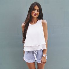Marta Lozano representing soft touch blue short