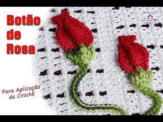 Botão de Rosa para Aplicação Crochê - Professora Simone