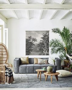 Wandkaart Jungle XXL - katoen - hout - 154x154x2 - HK Living  Een ware eyecatcher voor in je woonkamer!