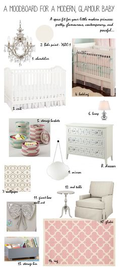 Modern Glamour Baby Nursery Moodboard! Check out whitneyjdecor.com for more decor boards and decor tips