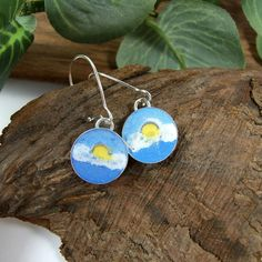 Earrings, Sterling Silver with Enamel, Sunshine on a Cloudy Day £17.00 Earrings Handmade, Handmade Jewellery, Fabric Remnants, Cloudy Day, Organza Gift Bags, Beautiful Gifts, Beautiful Butterflies, Small Gifts, Sterling Silver Earrings