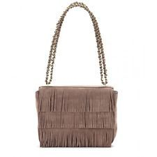 NWT Tory Burch Fringe Chained Should Bag Purse Cocco Taupe Suede