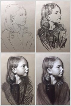 Draw Charcoal Charcoal Portrait online classes by Brianna Lee. Portrait Sketches, Art Drawings Sketches, Portrait Art, Easy Drawings, Contour Drawings, Drawing Faces, Art Illustrations, Charcoal Portraits, Charcoal Art