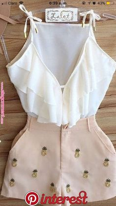 Conjunto blusa blanca con short Updated version of an old outfit ! Cute Casual Outfits, Cute Summer Outfits, Stylish Outfits, Spring Outfits, Cute Dress Outfits, Teen Fashion Outfits, Mode Outfits, Outfits For Teens, Girl Outfits