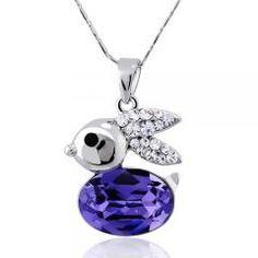 HANES Rhinestone Crystal Blue Purple Rabbit Bunny Necklace