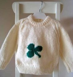 Hand knit Saint Patrick's Day Sweater for baby