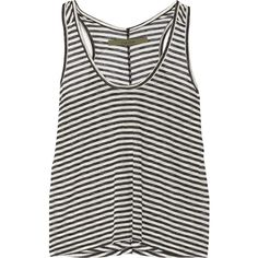 ENZA COSTA Racer-back striped jersey tank (52 CAD) ❤ liked on Polyvore featuring tops, tank tops, shirts, tanks, navy, striped shirt, racerback tank tops, racer back tank top, loose shirts and racer back tank